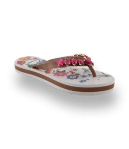 Flip Flop in weiß mit Blumensohle und pink